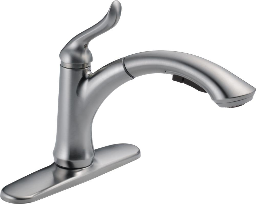 Delta Faucet Linden Single-Handle Kitchen Sink Faucet with Pull Out Sprayer, Arctic Stainless 4353-AR-DST