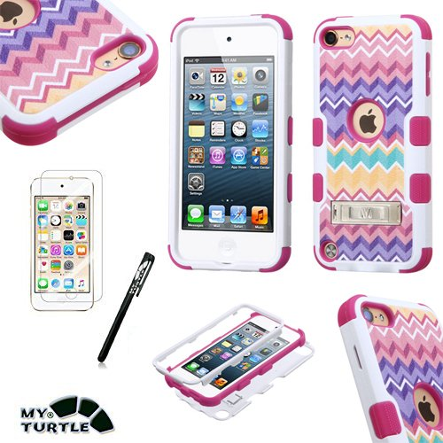 MyTurtle Shockproof Hybrid 3-Layer Hard Silicone Shell Cover with Stylus Pen and Screen Protector for iPod Touch 5th 6th Generation, Pink Camo Waves