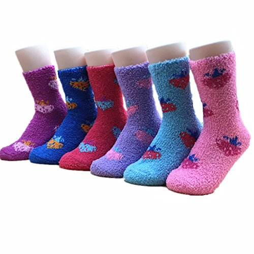 Aukado Women's Winter Socks Pack of 6– Thick knit & Soft Design, Incredibly Warm & Comfortable Casual Socks, Style & Adorable Patterns, Ideal Christmas Or Valentine's Day Gift