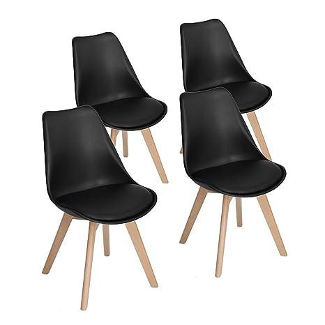 WarmCentre Set di 4 sedie da pranzo stile Tulip moderne sedie ...