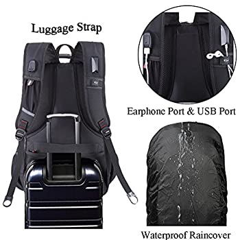 Laptop Backpack Large Capacity Water Resistant Rucksack Multi-function Travel School College Bag Fits 17.3 Inch Laptop with Massage Decompression Cushion Straps USB Charging Port Earphone Port (Black)