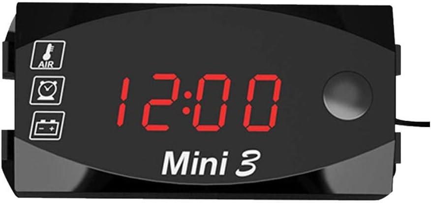 6V-30V Moto Thermom/ètre Horloge /Électronique Voltm/ètre 3 In1IP67 Imperm/éable /À leau Montre /À Poussi/ère LED avec Affichage Num/érique Grand /Écran Schildeng Tableau Daffichage Num/érique