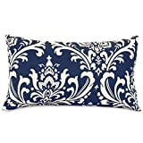 Majestic Home Goods Navy Blue French Quarter Indoor / Outdoor Small Throw Pillow 20'' L x 5'' W x 12'' H
