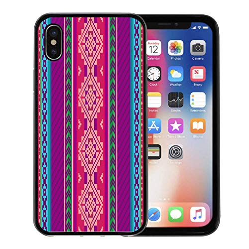 (Semtomn Phone Case for Apple iPhone Xs case,Mayan Ethnic Pattern Mexican Tribal Inca Peruvian for iPhone X Case,Rubber Border Protective Case,Black)