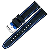 TON Charme Replacement Silicone Watch Band Waterproof Bicolor with Brushed Stainless Steel Buckle 20/22/24/26mm (26mm, Black Blue)