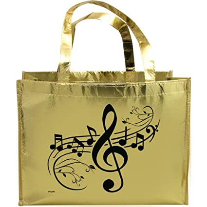 Gift House Music G-Clef Metallic Gold Tote Bag