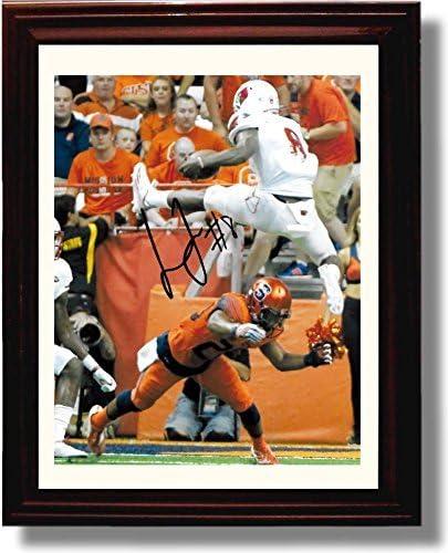 Louisville Cardinals Leaping Lamar Lamar Jackson Autograph Replica Poster Print