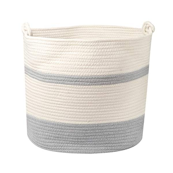 "Extra Large Cotton Rope Basket 17"" x 14.5"". Woven Large Cotton Basket for Storage – Blankets, Toys, Laundry, etc. with Comfortable Handle and Strong Stitching to Ensure Highest Quality."
