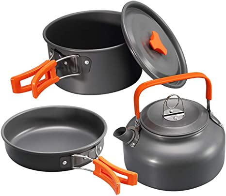Camping Cookware Set Outdoor Cooking Pot Pan Kettle for Hiking Picnic Fishing UK