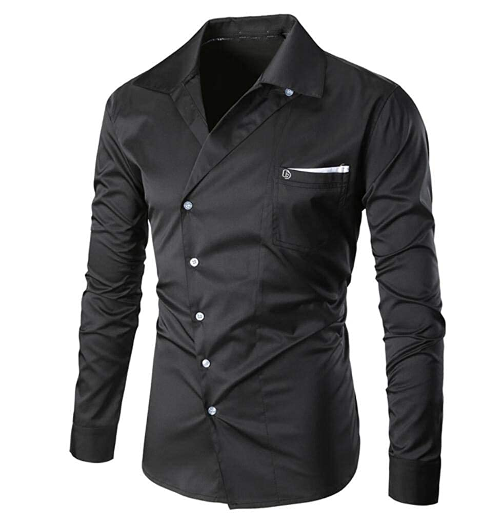 Mfasica Mens Long Sleeve Plus Size Solid Color Pockets Slim Casual Shirt