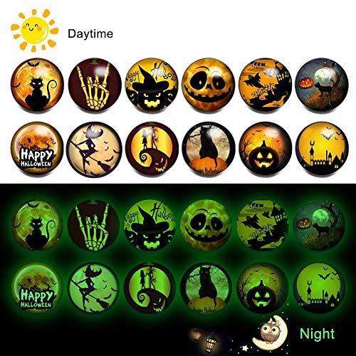 Halloween Snap Jewelry Charms Luminous Glass Snap Button Pumpkin Spider Bat Boo Skeleton Ghost Ginger Snap Charms (A-Halloween)
