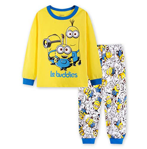 Boys Pajamas Sets Children Christmas Pants 100% Cotton Spider-Man Long Kids Snug Fit Pjs Winter Toddler Sleepwear (Minions, 2T) -