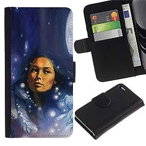 KLONGSHOP / Tirón de la caja Cartera de cuero con ranuras para tarjetas - Native Indian Woman Feathers Moon Night - Apple iPhone 4 / 4S