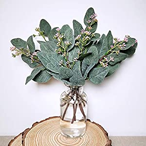 "Supla 10 Pcs Artificial Eucalyptus Leaves Stems Bulk Artificial Seeded Eucalyptus Leaves Plant in Grey Green 11"" Tall Artificial Greenery Holiday Greens Wedding Greenery 5"