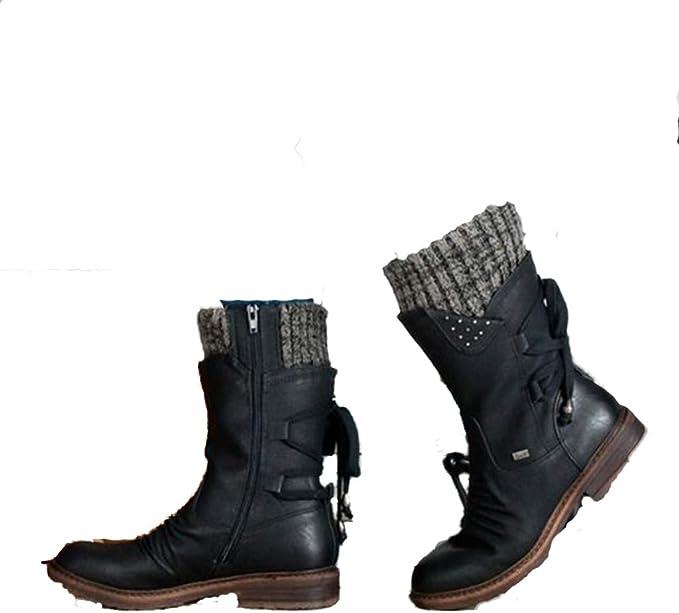 : Women Mid Calf Boots Winter Warm Snow Boots