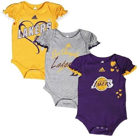 timeless design f9dfb 4ed7e Los Angeles LA Lakers 3pc Creeper Set GIRLS Team Colors Infant baby