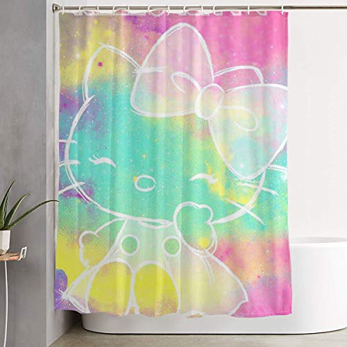 WSXEDC Shower Curtain Colorful Hello Kitty Waterproof Curtain 60 X 72 Inches