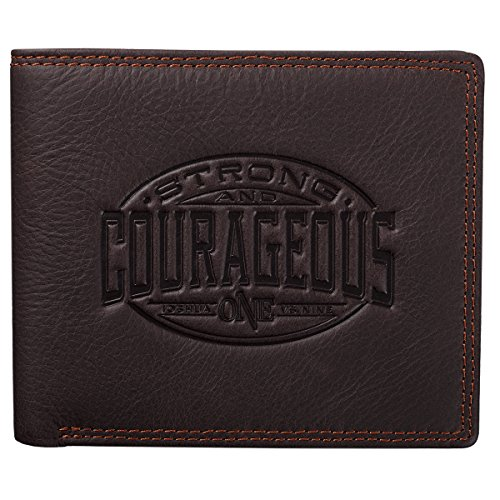 Be Strong and Courageous Collection Brown Genuine Leather Wallet - Joshua 1:9