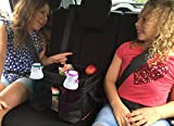 Kids Car Backseat Organizer with Flip-Side Tray for Travel and Road Trip Accessories Includes Cup Holders and Convenient Mesh Pockets on 3 Sides
