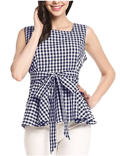 Check Cotton Blouse (Women's Gingham Plaid Check Blouse Bow-Knot Square Neck Shirt Loose Ruffle Swing Sleeveless Cotton Top)