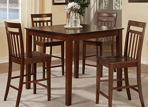 East West Furniture EWT-MAH-T Square Pub Table, 42-Inch, Mahogany Finish