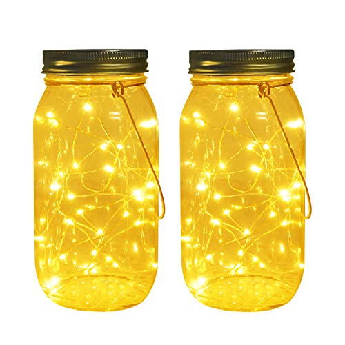 Solar Mason Jar Lights, Large Size Bigger Glass Mason Jar with 30 LEDs Fairy Firefly String Lights, Best Patio Yard Desktop Party Decor Outdoor Solar Hanging Lanterns ()