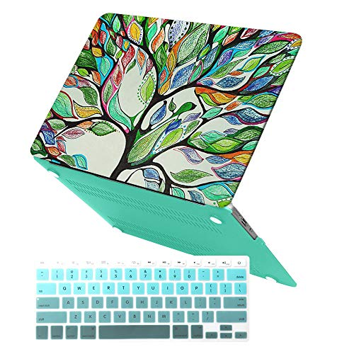MacBook Air 13 Inch Case (Release 2010-2017 Older Version),iCasso Rubber Coated Soft Touch Hard Case with Keyboard Cover Only Compatible MacBook Air 13 Inch (Model:A1369/A1466), Life - Tree Inch 13