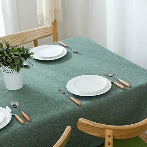 pridesong algodon y Lino Mantel de Color solido Mantel Mesa de Centro de Tela Rectangular Mesa de Comedor Nueva Verde Oscuro de 55 * 55 Pulgadas de