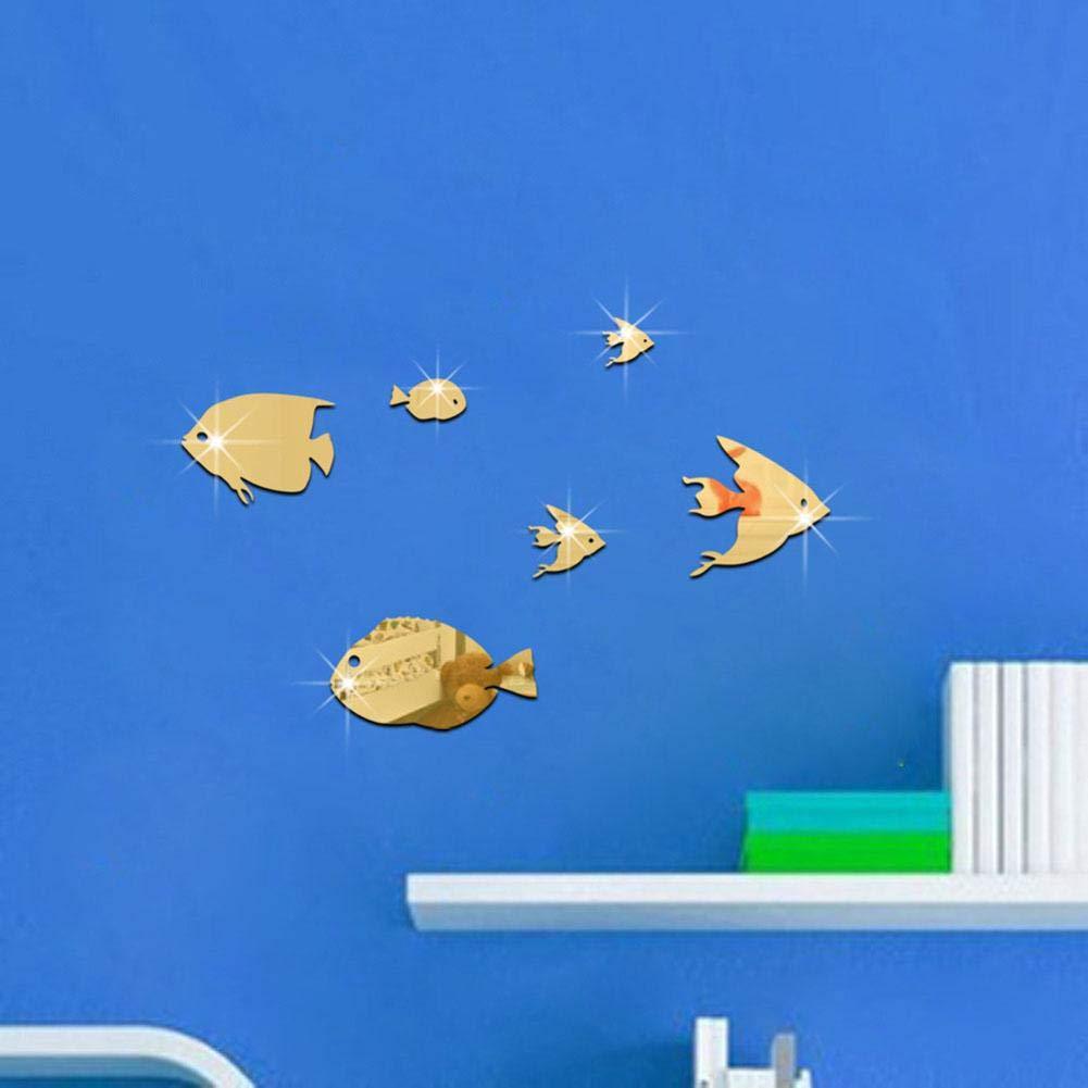 Argent B Fdit Stickers Muraux Acrylique Creative Miroirs Autocollants Poissons Tropicaux sous La Mer 3D D/écor de la Maison pour Enfants