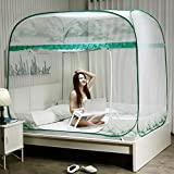 GLXQIJ Mosquito Net Bed Canopy Pop Up Foldable Double Door,Rectangular Screen Netting Curtain, Insect Protection Repellent, Free Installation,Green,180x200x170CM