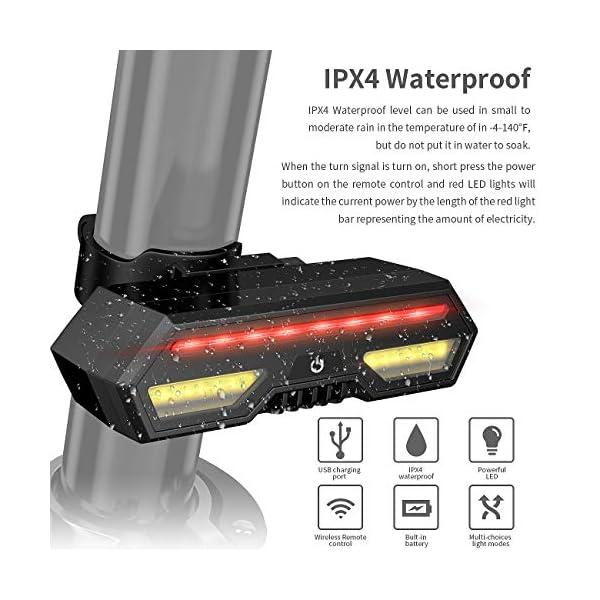 MojiDecor Fanale Posteriore per Bicicletta Impermeabile USB Ricaricabile Luce Posteriore Bici con LED Indicatore di Direzione 3 Modalità d'Illuminazione Lampada per Mountain Bike Bicicletta 7 spesavip