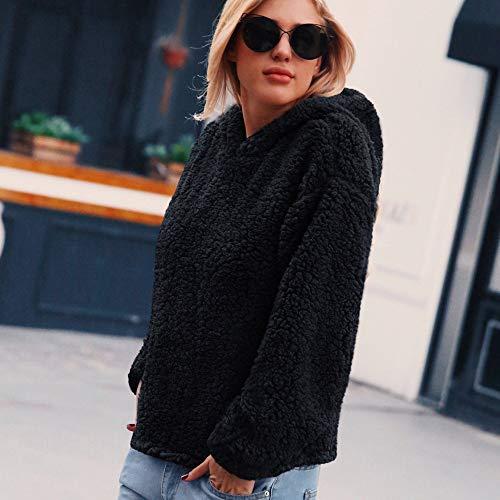 KIMODO Hooded Jacket Artificial Outerwear Ladies Sweatshirt Black Warm Winter Wool Parka Womens Coat qXHXS1x