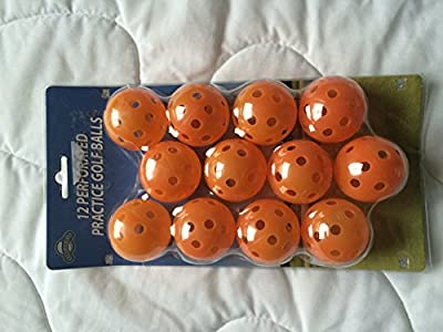 Oncourse perforated practice golf balls Orange wiffle balls, 12 pack