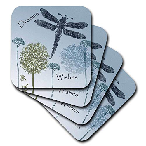 3dRose CST_79324_2 Dreams and Wishes Dandelions and Dragonflies Soft Coasters, Set of 8 ()