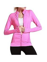 Sport Yoga Workout Jacket Thiningstars Full-Zip Running Jacket with Pockets