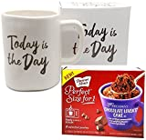 Graduation Gift 2018 Today Is The Day Mug In Gift Box with 4 Mug Cake Mix Pouches Bundle (Chocolate Lovers)