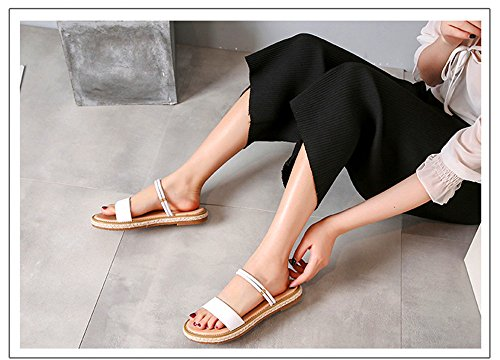 Slippers Female White And Sandals Beach Shangyi Wear Leather Two Bottom Shoes Korean Flat Fashion Summer X64FwIxtqn