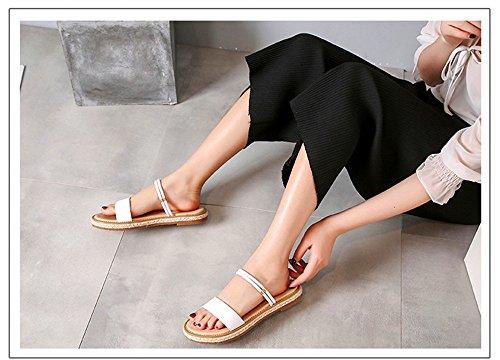 Wear Shoes And Beach Slippers Flat Summer Korean Two Fashion Shangyi White Sandals Female Bottom Leather TwFqaYaU
