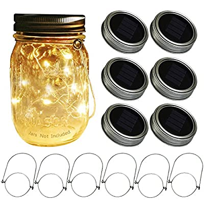 Mason Jar Solar Lids Lights,30 LEDs Fairy Fireflies String Lights Lids Insert, Fits Regular Mouth Mason Jars,Patio Garden Decor Solar Outdoor Laterns