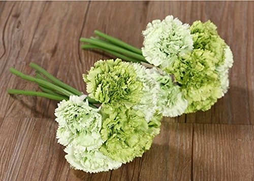 - Nument(TM Silk Artificial Carnation Flowers Real Touch Flowers 2 Bouquets for Wedding Bridal Bridesmaid Home Decoration (Green)