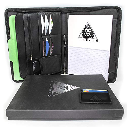 - Professional Zippered PU Black Leather Padfolio/Portfolio: Enhance Your First Impression | Keep Your Papers and Valuables Organized | Notepad Holder for Business Men/Women | Crafted by Dizzolo