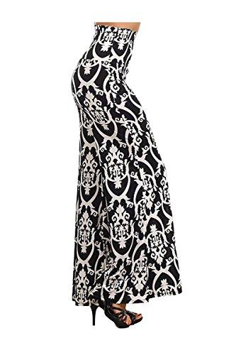 ColorMC Women's Plus Size Damask Print High Waist Palazzo Knit Pants 3XL As is