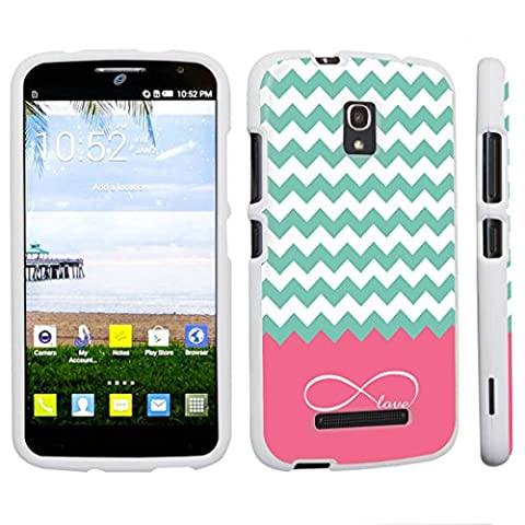 DuroCase ® Alcatel One Touch POP Mega LTE A995G Hard Case White - (Infinity Love Chevron) (Alcatel A995g Wallet Case)