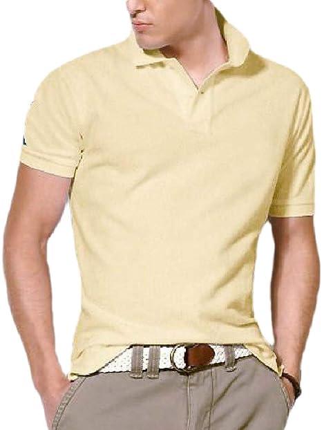 Camiseta Polo Deportiva de Manga Corta para Hombre Beige Beige X ...