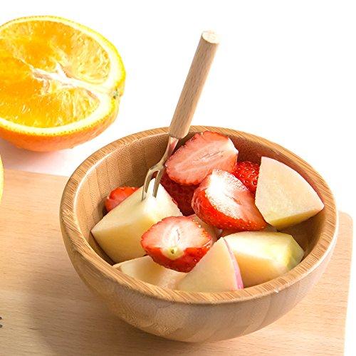BB.er Wood stainless steel fruit dessert fork environmentally friendly cutlery, 2 pcs