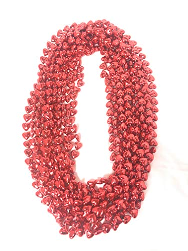 Valentine Heart Necklaces for Kids School Classroom Party Favors, 12 Pieces, 33 Inch Red Metallic Mardi Gras Beads