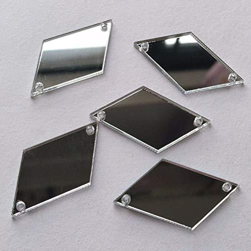 Diamond Shape Mirror Beads, DIY Mirrored Rhinestones for Costume Evening Dresses Cloth Garment Deco Accessory (Silver)