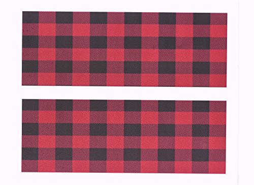 Red Plaid Birthday Cake Side Designer Strips Edible icing Image