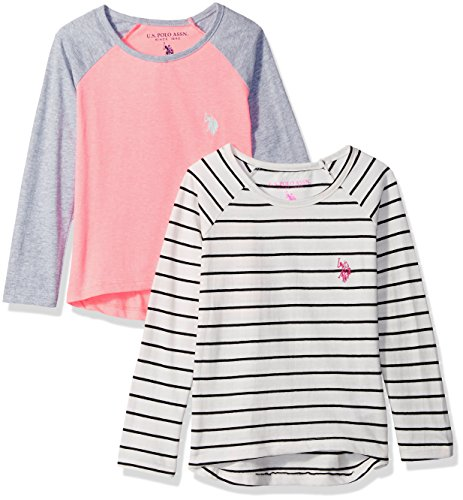 U.S. Polo Assn. Girls' Little 2 Pack T-Shirt, Black/White Striped Coral Color Block Multi, 4