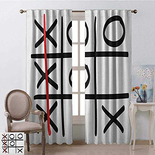 Valance Victory Pattern - youpinnong Xo, Curtains Printed, Popular Tic Tac Toe Game Pattern Hand Drawn Design Win Victory Finish Theme, Curtains Kitchen Valance, W96 x L96 Inch, Vermilion Black White